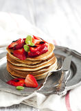 Stack of pancakes with fresh strawberry and balsamic glase Royalty Free Stock Photos