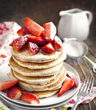 Stack of pancakes with fresh strawberry Royalty Free Stock Photos