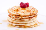 Stack of pancakes with honey Stock Photo