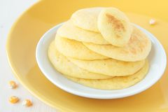 A stack of pancakes made ��of maize flour Royalty Free Stock Photos