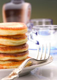 A stack of pancakes on a plate. Close up shoot stock image