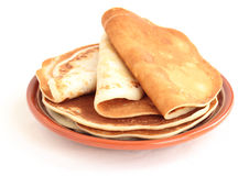 A stack of pancakes on a plate Royalty Free Stock Photo