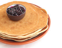 A stack of pancakes on a plate Royalty Free Stock Images