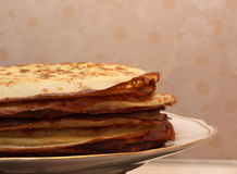 The stack of the pancakes on the plate closeup Royalty Free Stock Photo