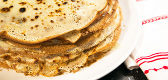 The stack of pancakes russian food. Holiday Maslenitsa still life with stack of pancakes traditional russian food banner royalty free stock photos