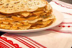 The stack of pancakes russian food Royalty Free Stock Photo