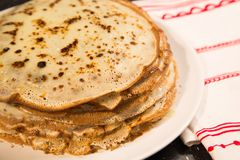The stack of pancakes russian food Stock Photo