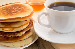 Stack of pancakes on a saucer Royalty Free Stock Images