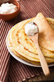 Stack of pancakes with sour cream Royalty Free Stock Image
