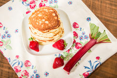 Stack of pancakes with strawberries Royalty Free Stock Photos