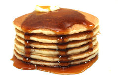 Stack of Pancakes and Syrup. Isolated on white background Royalty Free Stock Photo