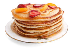 Stack of pancakes with syrup Stock Images