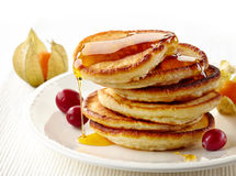 Stack of pancakes on white plate Royalty Free Stock Image