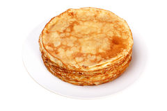 Stack of pancakes on white plate Royalty Free Stock Photography