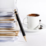 Stack of paper. Coffee and stack of paper Royalty Free Stock Image