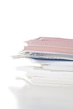 Stack of paper. Side view of stack of papers Stock Photo
