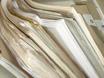 Stack of paper. In old folder Royalty Free Stock Photo