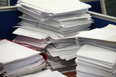 Stack of paper. Big stacks of papers (documents Stock Photos