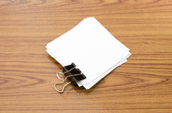 Stack of paper with clip Stock Photo