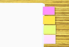 Stack Of A4 Paper With Colorful Tagging For Easy Reference (Blank Space For Writing Text At A4 Paper And Its Tagging) Stock Images