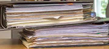 Stack of Paper files Stock Photo