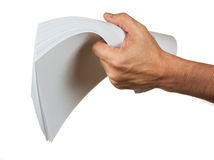 A stack of paper in hand Royalty Free Stock Images