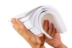 Stack of paper in his hand Royalty Free Stock Photo