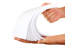 Stack of paper in his hand Royalty Free Stock Photos