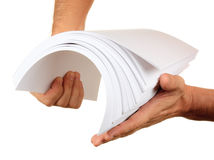 Stack of paper in his hand Stock Photos