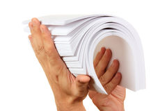 Stack of paper in his hand Stock Images