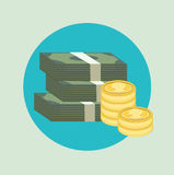 Stack of paper money with golden coins flat icon Royalty Free Stock Photography