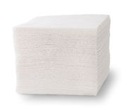 Stack Of Paper Napkins. Isolated On White Background Stock Photo