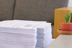 Stack of paper at office Stock Photography