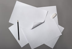 Stack of paper. With pencil Royalty Free Stock Photos