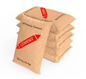 Stack of Paper Sacks Cement Bags. 3d Rendering Royalty Free Stock Image