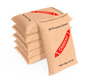 Stack of Paper Sacks Cement Bags. 3d Rendering Royalty Free Stock Photos