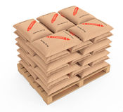 Stack of Paper Sacks Cement Bags over Wooden Pallet. 3d Renderin Stock Image
