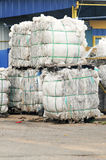 Stack of paper waste at recycling plant. Isolated recyling factory Stock Images