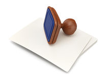 Stack of  paper and wooden stamp Royalty Free Stock Photo