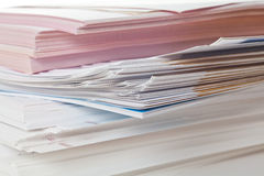 Stack of papers. Side view of stack of papers Royalty Free Stock Images