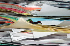 Stack of papers. A close up image of a large stack of papers Stock Images