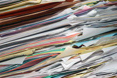 Stack of papers. A close up image of a large stack of papers Royalty Free Stock Photos