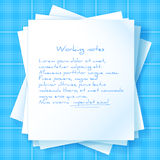 Stack of Papers on Blueprint Royalty Free Stock Images