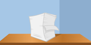 Stack of papers on desk Stock Image