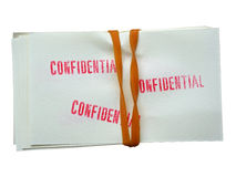 Stack of papers with stamped confidential Royalty Free Stock Images