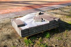 Stack of pavement slabs is ready for usage placed at constru Stock Photos