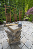 Stack of Pavers on Backyard Garden Patio. Stack of Cement Pavers On Backyard Patio for Garden Landscaping royalty free stock photos