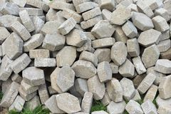 Stack of paving material to building footpath, Hexagon concrete block brick,grunge brick stone for walkway Royalty Free Stock Photos