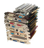 Stack of pc video adapters and graphic cards, isolated on white Royalty Free Stock Image