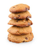 Stack of peanut butter with chocolate cookies Royalty Free Stock Images